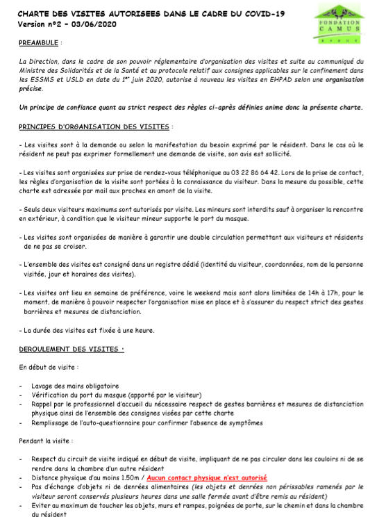 INFORMATIONS FAMILLES VISITES COVID 19